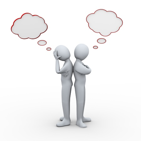 3d illustration of sad couple having conflict with thinking bubble  3d rendering of people - human character  Stock Photo