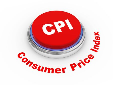 weighted: 3d illustration of CPI   Consumer Price Index   button Stock Photo