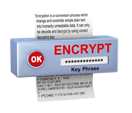 3d illustration of device with plain text conversion into encrypted data  Concept of data security and encryption process