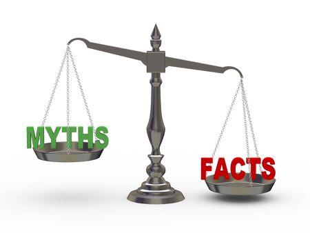 balanza justicia: 3d ilustraci�n de los hechos y los mitos en la escala de Foto de archivo