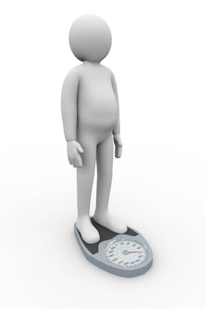 overweight man: 3d illustration of overweight person with weight scale  3d rendering of people - human character Stock Photo