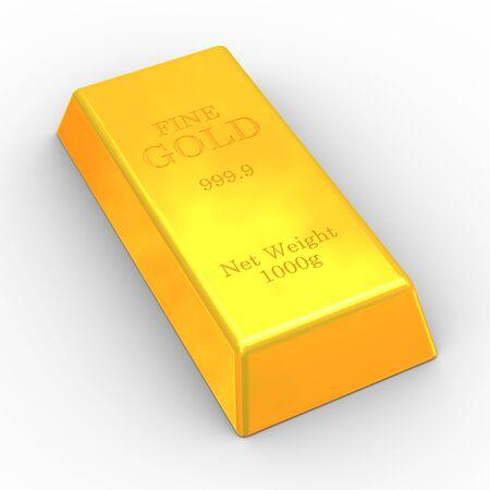 3d illustration of fine gold bar on white background illustration