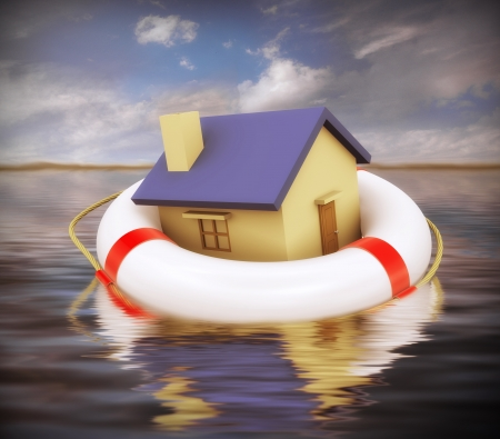 business survival: 3d Illustration of house on lifesaver floating on water