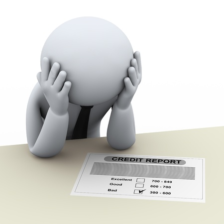 cr�dito: 3d ilustraci�n de la persona estresada preocupado por mal informe de cr�dito de representaci�n 3D de la gente - car�cter humano