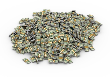3d illustration of heap of dollar packs money illustration