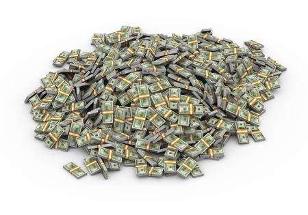 money packs: 3d illustration of heap of dollar packs money