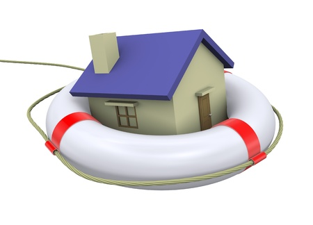 3d Illustration of house on a lifebuoy ring - life preserver illustration