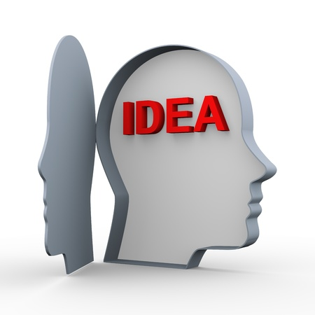 3d illustration of word idea in open human head  Concept of creativity and brain storming  illustration