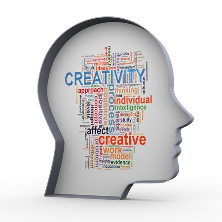 3d illustration of human head and wordcloud word tags of creativity and innovation  Banco de Imagens