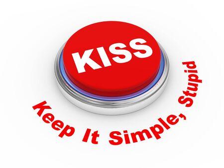 sophistication: 3d illustration of principle of KISS   Keep It Simple, stupid  button