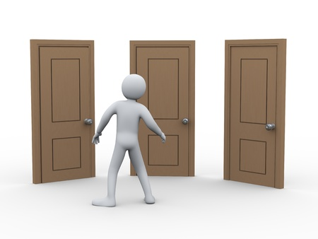 man confused: 3d illustration of person and three door   3d rendering of human character  Stock Photo