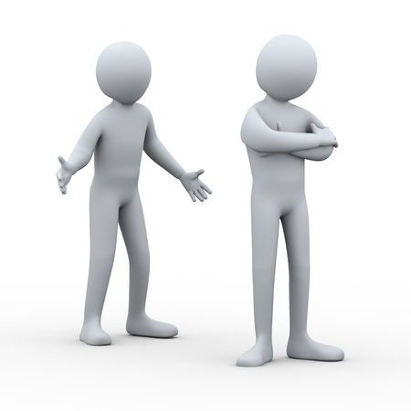 misunderstanding: 3d illustration of person having conflict with another man  3d rendering of people - human character