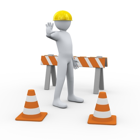 manager cartoon: 3d illustration of person - stop site under construction   3d rendering of people - human character