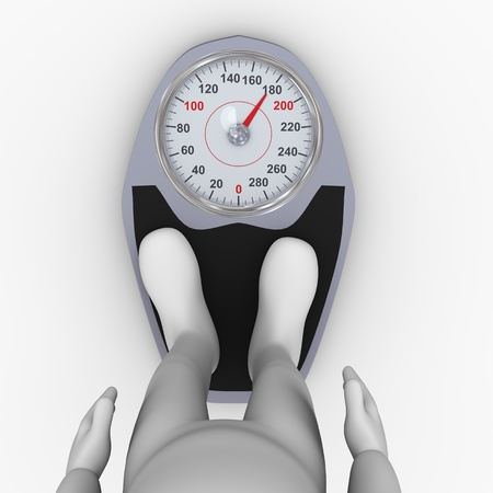 bathroom weight scale: 3d illustration of person feet on weighing machine
