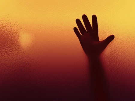 depressive: 3d abstract illustration of man spooky hand shadow behind frosted glass   3d rendering of spooky human character hand