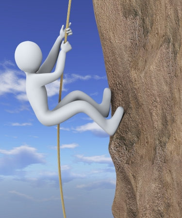 3d illustration of person climbing vertifical wall with the help of rope   3d rendering of people - human character  illustration