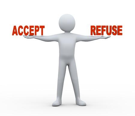 se soumettre �: 3d illustration de la personne tenue d'accepter et de refuser des mots sur sa main 3d rendu de personnes - caract�re humain