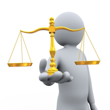 tribunal: 3d illustration of person holding golden scale of balance   3d rendering of people - human character  Stock Photo