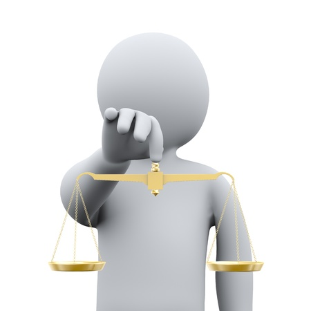 legal system: 3d illustration of man holding golden balance scale   3d rendering of people - human character