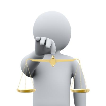 balanza en equilibrio: 3d ilustraci�n del hombre que sostiene el equilibrio escala de representaci�n 3D de oro de la gente - car�cter humano