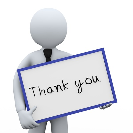 3d illustration of man holding thank you board   3d rendering of human people character