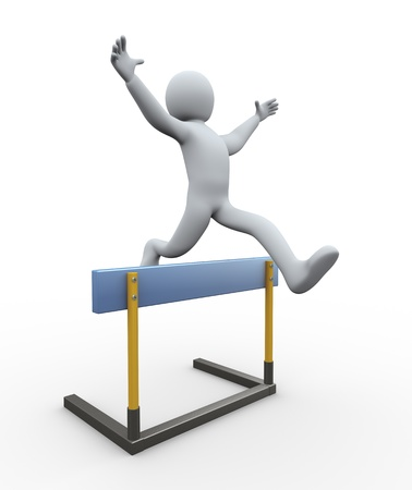 hurdling: 3d illustration of person jumping over hurdle  3d rendering of people - human character  Stock Photo