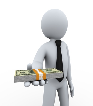 fantail: 3d illustration of man offering dollar pack   3d rendering of people - human businessman character