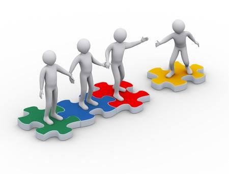 la union hace la fuerza: 3d ilustraci�n del hombre en la pieza de puzzle grupo de uni�n de la gente de representaci�n 3D de la gente - car�cter humano Foto de archivo