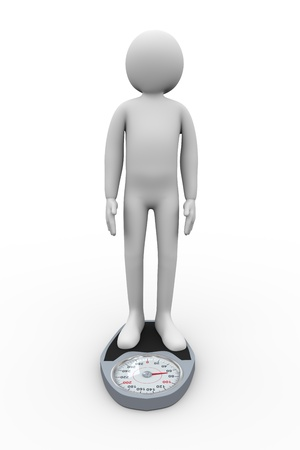 3d illustration of man on weight balance scale  3d rendering of people - human character  illustration