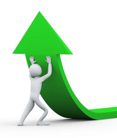 empujando: 3d ilustraci�n de la persona que empuja la flecha verde hacia arriba representaci�n 3D de la gente - car�cter humano Foto de archivo