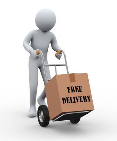 3d illustration of person with hand truck delivering cardboard box free delivery shipping parcel  3d rendering of human people character  illustration