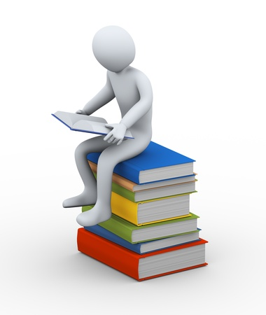 magazine stack: 3d illustration of person sitting on stack books reading book   3d rendering of people - human character  Stock Photo