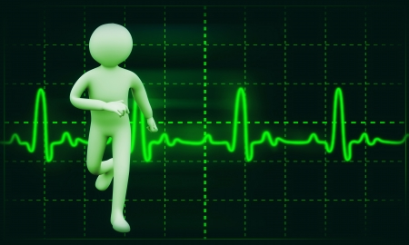 heart rate: 3d illustration of man running on background of Cardiogram   3d rendering of people  - human character