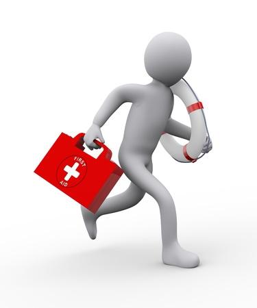 3D-afbeelding van man met reddingsboei ring en EHBO-doos lopen voor hulp 3D-rendering van mensen - het menselijk karakter Stockfoto