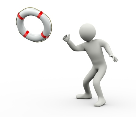 3d Illustration of man throwing lifebuoy ring - lifesaver  3d rendering of people - human character  Stock Photo