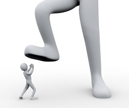 従業員の人々 - 人間のキャラクターの 3 d レンダリングを踏んで足を上司 s の 3 d イラストレーション 写真素材