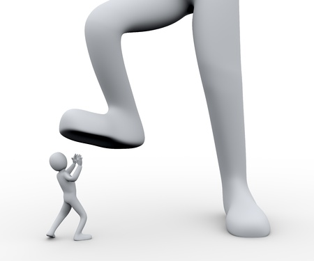 disagreement: 3d illustration of  boss s foot stepping on employee   3d rendering of people - human character