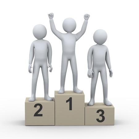 3d illustration de personnes gagnant sur le podium de rendu 3D de gens - caractère humain Banque d'images - 21054128