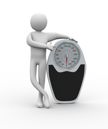 weigh: 3d illustration of man pointing his finger to weight balance scale  3d rendering of people - human character