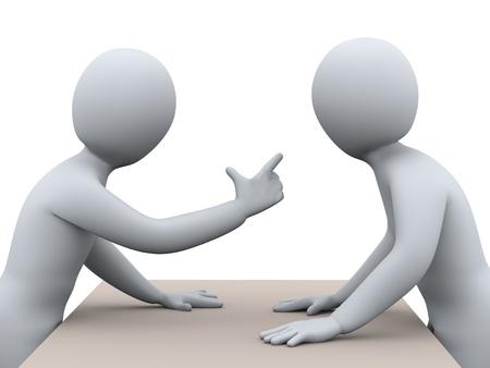 pareja enojada: 3d ilustración del hombre que señala el dedo y gritando a otra persona de representación 3D de la gente - carácter humano