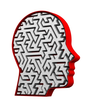3d illustration of complex maze pattern in human face head Stock Illustration - 21054138