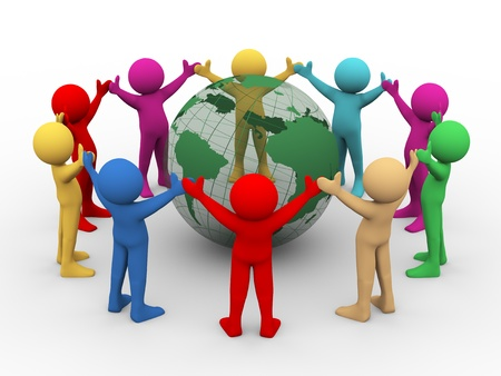 3d illustration of differnt colorful man holding hands in circle around transparent globe   3d rendering of human people character