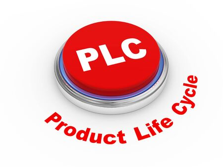 3d illustration of PLC   Product Life cycle   button illustration