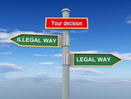 3d illustration of road signs of your decision, illegal way and legal way on sky and clouds background