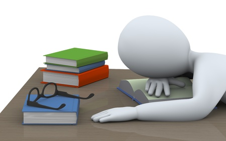 3d illustration of tired student sleeping over books at the table  3d rendering of people - human character