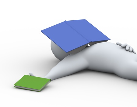 stress test: 3d illustration of student sleeping with book on his face  3d rendering of people - human character