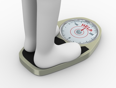 overeat: 3d illustration of overweight fat person on weighing machine with word help need to lose weight through diet and exercise  Stock Photo