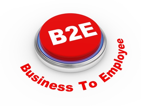 b2e: 3d illustration of b2e business to employee  button