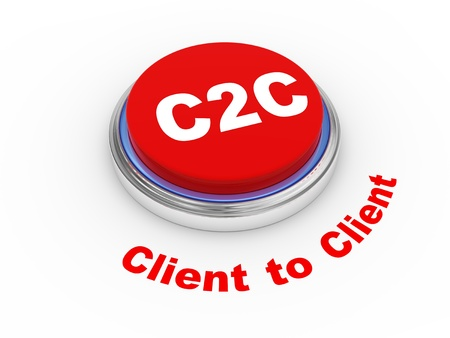 b2e: 3d illustration of c2c client to client button
