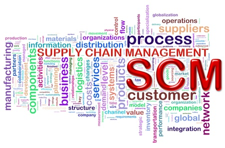 Illustration of Worldcloud word tags of scm supply chain management illustration